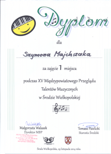 I miejsce Szkoła Muzyczna effect we Wrześni Sz. Majchrzak 2014